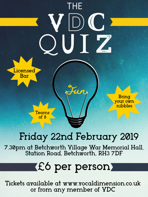 Join us for the only-once-a-year, fabulous evening of quizzical fun with a little entertainment thrown in from Vocal Dimension Chorus!